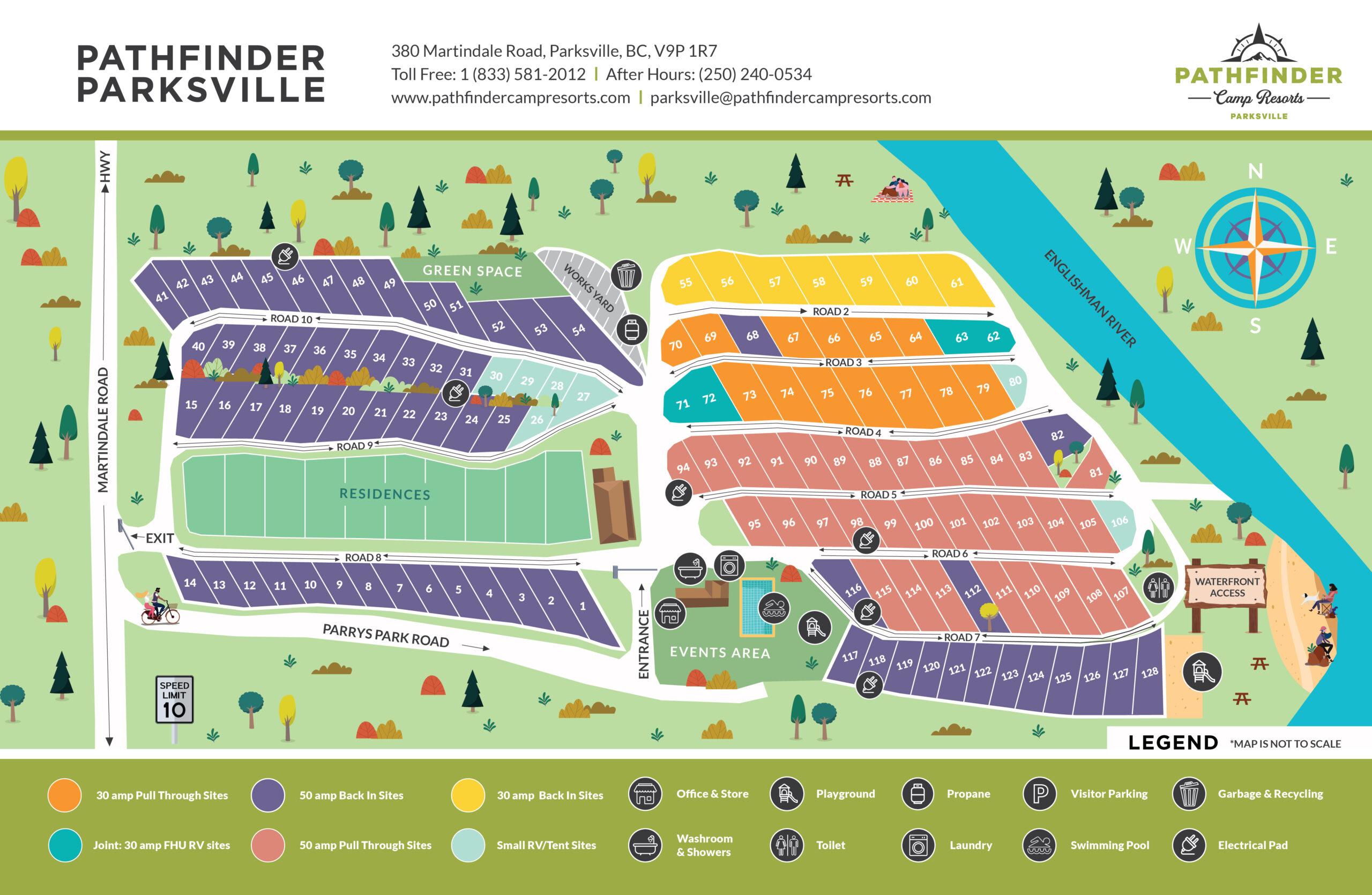 PATHFINDER CAMP RESORTS PARKSVILLE SITE MAP rv sites map englishman river qualicum rv park